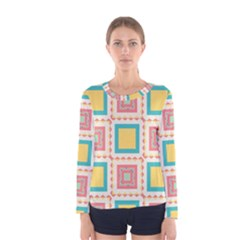 Pastel Squares Pattern Women Long Sleeve T Shirt