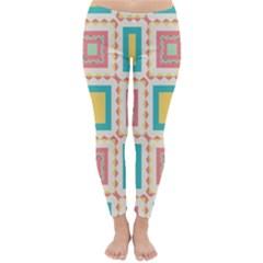 Pastel Squares Pattern Winter Leggings