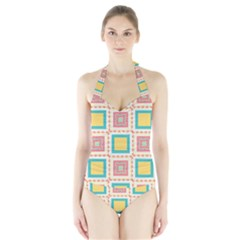 Pastel squares pattern Women s Halter One Piece Swimsuit