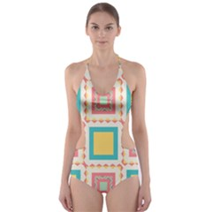 Pastel Squares Pattern Cut Out One Piece Swimsuit