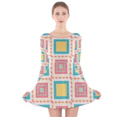 Pastel Squares Pattern Long Sleeve Velvet Skater Dress
