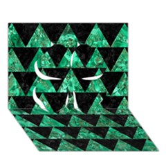 Triangle2 Black Marble & Green Marble Clover 3d Greeting Card (7x5)