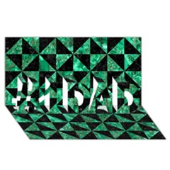 Triangle1 Black Marble & Green Marble #1 Dad 3d Greeting Card (8x4)