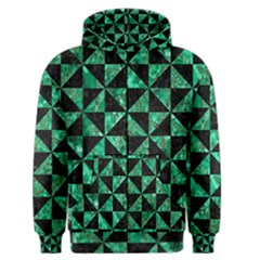 Triangle1 Black Marble & Green Marble Men s Zipper Hoodie