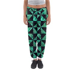 Triangle1 Black Marble & Green Marble Women s Jogger Sweatpants