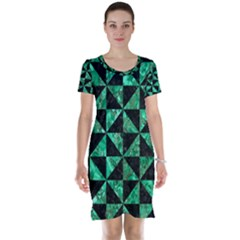 Triangle1 Black Marble & Green Marble Short Sleeve Nightdress