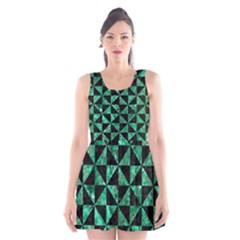 Triangle1 Black Marble & Green Marble Scoop Neck Skater Dress
