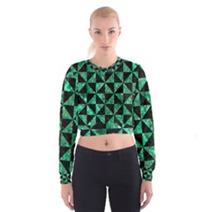 Triangle1 Black Marble & Green Marble Cropped Sweatshirt