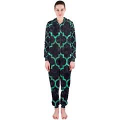 Tile1 Black Marble & Green Marble (r) Hooded Jumpsuit (ladies)