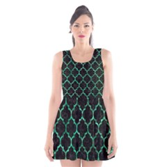 Tile1 Black Marble & Green Marble (r) Scoop Neck Skater Dress