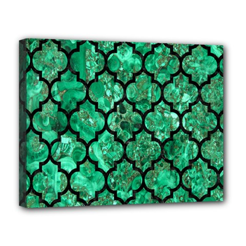 Tile1 Black Marble & Green Marble Canvas 14  X 11  (stretched)