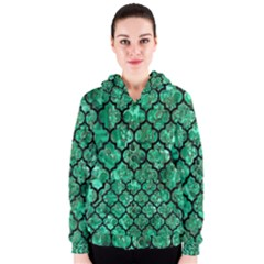 Tile1 Black Marble & Green Marble Women s Zipper Hoodie