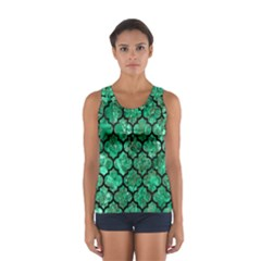 Tile1 Black Marble & Green Marble Sport Tank Top