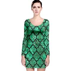 TIL1 BK-GR MARBLE Long Sleeve Velvet Bodycon Dress