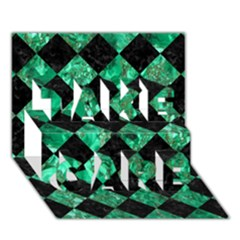 Square2 Black Marble & Green Marble Take Care 3d Greeting Card (7x5)