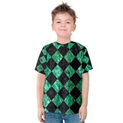 Square2 Black Marble & Green Marble Kids  Cotton Tee
