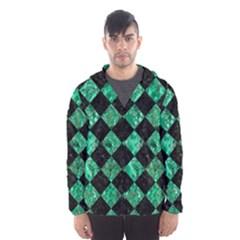 Square2 Black Marble & Green Marble Hooded Wind Breaker (men)
