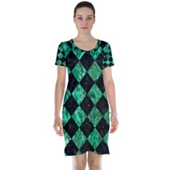 Square2 Black Marble & Green Marble Short Sleeve Nightdress