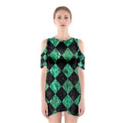 SQR2 BK-GR MARBLE Cutout Shoulder Dress