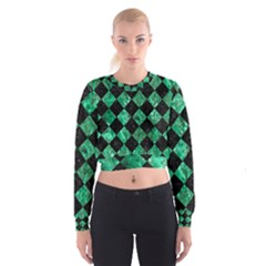 Square2 Black Marble & Green Marble Cropped Sweatshirt