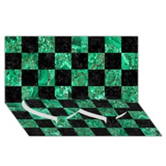 Square1 Black Marble & Green Marble Twin Heart Bottom 3d Greeting Card (8x4)