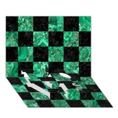 Square1 Black Marble & Green Marble Love Bottom 3d Greeting Card (7x5)