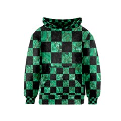 Square1 Black Marble & Green Marble Kids  Pullover Hoodie