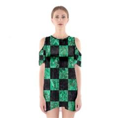SQR1 BK-GR MARBLE Cutout Shoulder Dress