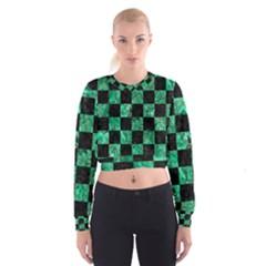 SQR1 BK-GR MARBLE Women s Cropped Sweatshirt