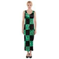 Square1 Black Marble & Green Marble Fitted Maxi Dress