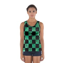 Square1 Black Marble & Green Marble Sport Tank Top