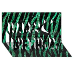 Skin3 Black Marble & Green Marble (r) Happy Birthday 3d Greeting Card (8x4)