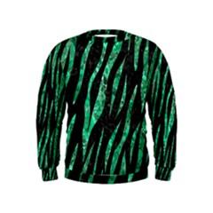 Skin3 Black Marble & Green Marble (r) Kids  Sweatshirt