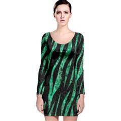 SKN3 BK-GR MARBLE (R) Long Sleeve Velvet Bodycon Dress
