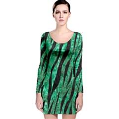 SKN3 BK-GR MARBLE Long Sleeve Velvet Bodycon Dress