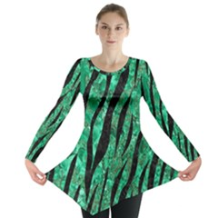 Skin3 Black Marble & Green Marble Long Sleeve Tunic