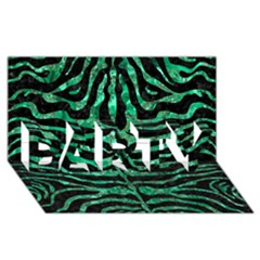 Skin2 Black Marble & Green Marble (r) Party 3d Greeting Card (8x4)