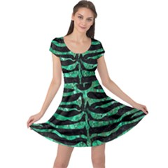 Skin2 Black Marble & Green Marble (r) Cap Sleeve Dress