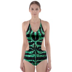Skin2 Black Marble & Green Marble (r) Cut Out One Piece Swimsuit
