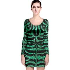 SKN2 BK-GR MARBLE (R) Long Sleeve Velvet Bodycon Dress