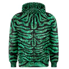 Skin2 Black Marble & Green Marble Men s Zipper Hoodie