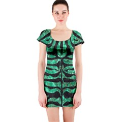 Skin2 Black Marble & Green Marble Short Sleeve Bodycon Dress