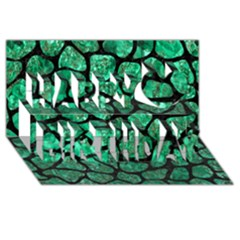 Skin1 Black Marble & Green Marble (r) Happy Birthday 3d Greeting Card (8x4)
