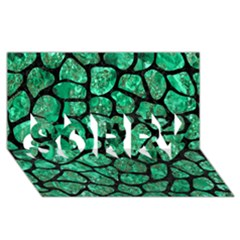 Skin1 Black Marble & Green Marble (r) Sorry 3d Greeting Card (8x4)