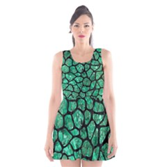 Skin1 Black Marble & Green Marble (r) Scoop Neck Skater Dress