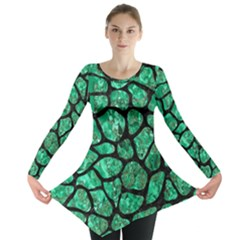 SKN1 BK-GR MARBLE (R) Long Sleeve Tunic