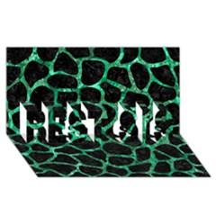 Skin1 Black Marble & Green Marble Best Sis 3d Greeting Card (8x4)