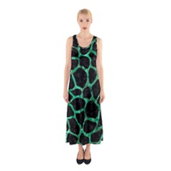 Skin1 Black Marble & Green Marble Sleeveless Maxi Dress