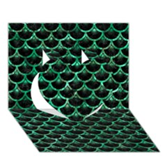 Scales3 Black Marble & Green Marble (r) Heart 3d Greeting Card (7x5)