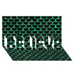Scales3 Black Marble & Green Marble (r) Believe 3d Greeting Card (8x4)